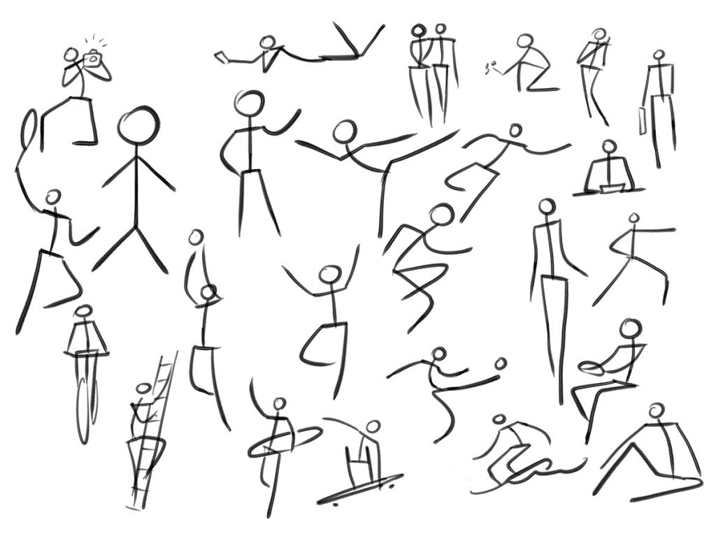 Mit Strichmännchen kann man Bewegungen und Posen schon sehr gut darstellen.