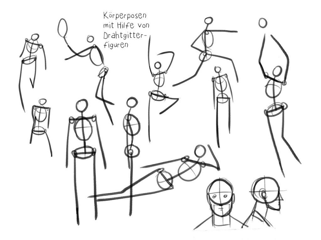 Darstellung von Körperposen mit Hilfe von Drahtgitterfiguren.